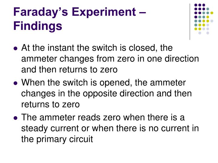 Faraday's Experiment – Findings