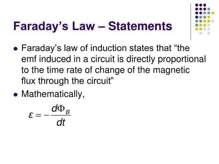 Faraday's Law – Statements