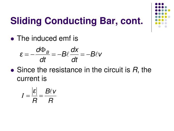 Sliding Conducting Bar, cont.