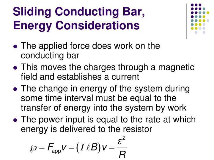 Sliding Conducting Bar, Energy Considerations
