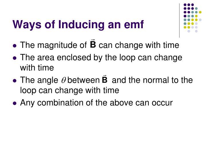Ways of Inducing an emf