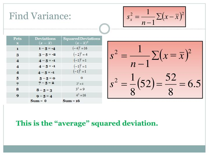 Find Variance: