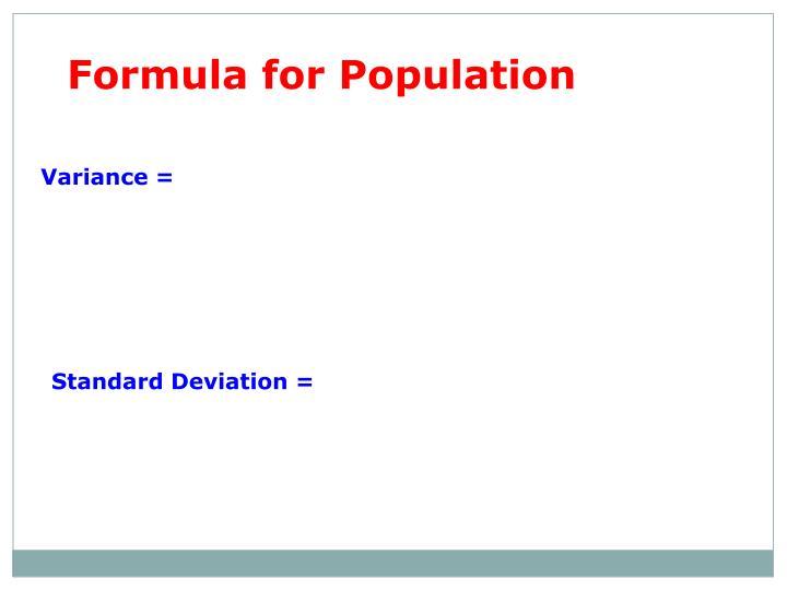 Formula for Population
