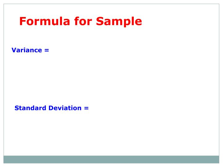 Formula for Sample