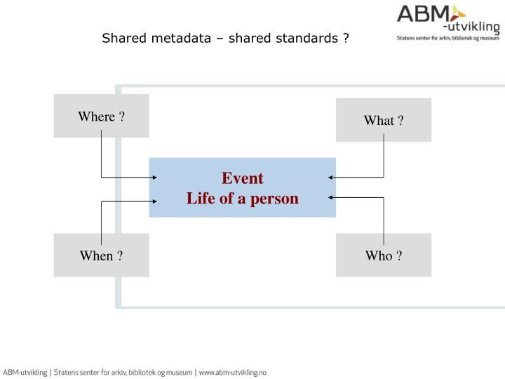 Shared metadata – shared standards ?