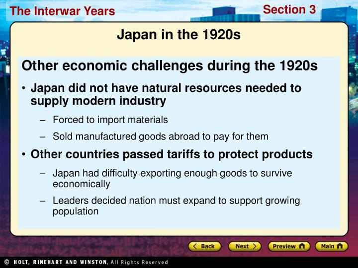 Other economic challenges during the 1920s