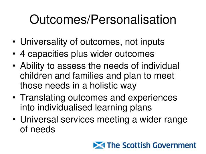 Outcomes/Personalisation