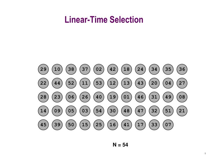 Linear time selection