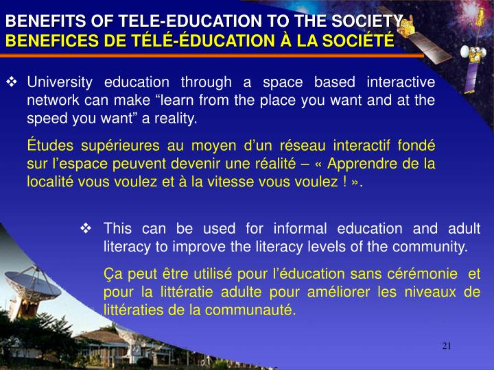 BENEFITS OF TELE-EDUCATION TO THE SOCIETY