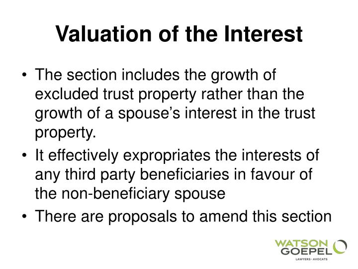 Valuation of the Interest