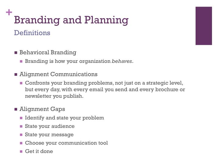 Branding and Planning