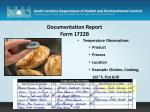 documentation report form 1722b