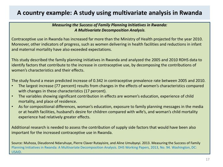 A country example: A study using multivariate analysis in Rwanda