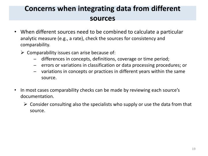 Concerns when integrating data from different sources