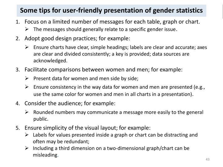Some tips for user-friendly presentation of gender statistics