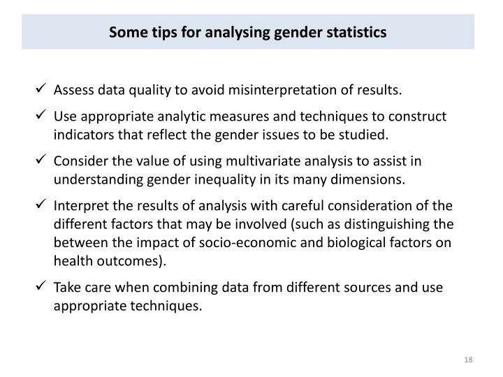 Some tips for analysing gender statistics