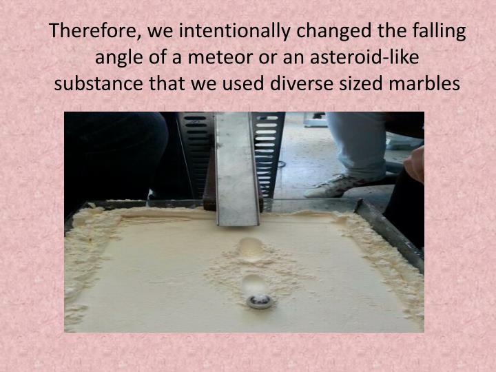 Therefore, we intentionally changed the falling angle of a meteor or an asteroid-like substance that we used diverse sized marbles