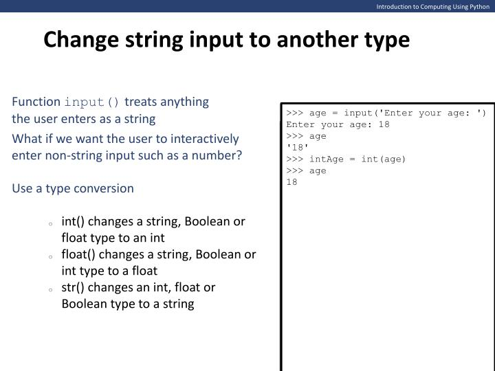 Change string input to another type
