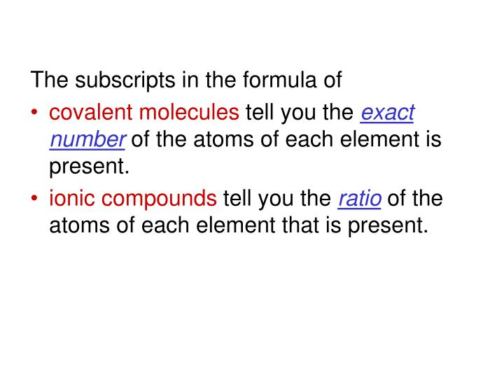 The subscripts in the formula of