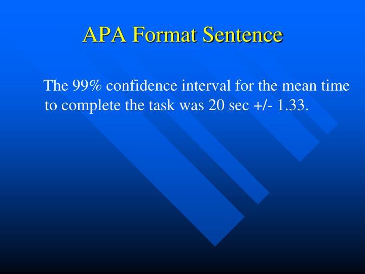 APA Format Sentence