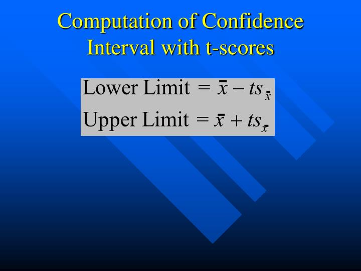 Computation of Confidence Interval with t-scores