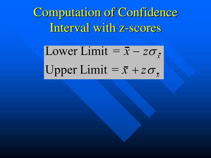 Computation of Confidence Interval with z-scores