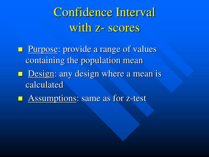 Confidence interval with z scores