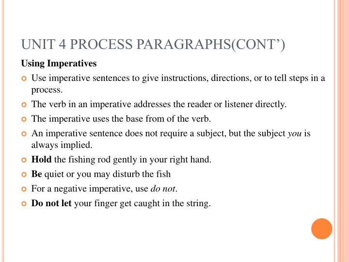UNIT 4 PROCESS PARAGRAPHS(CONT')