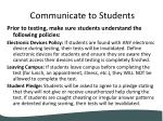 communicate to students