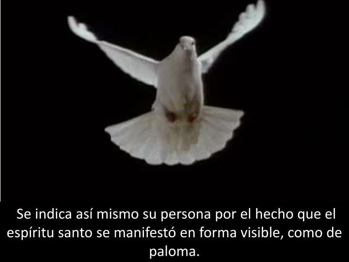 Se indica así mismo su persona por el hecho que el espíritu santo se manifestó en forma visible, como de paloma.