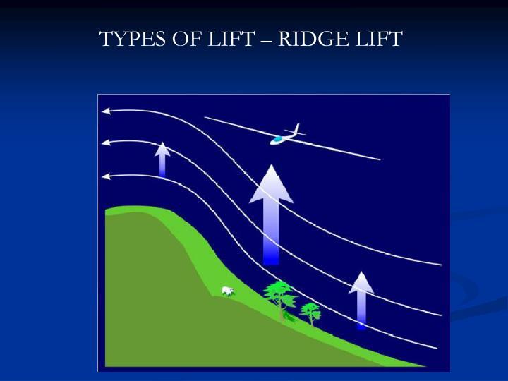 TYPES OF LIFT – RIDGE LIFT