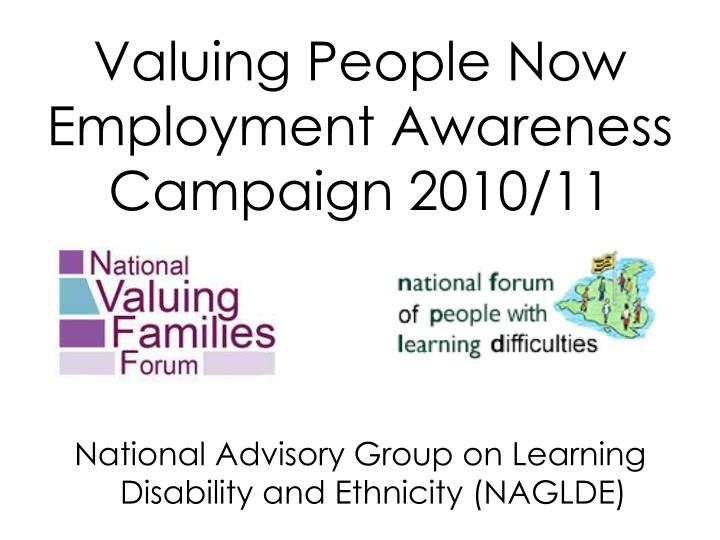 Valuing people now employment awareness campaign 2010 11