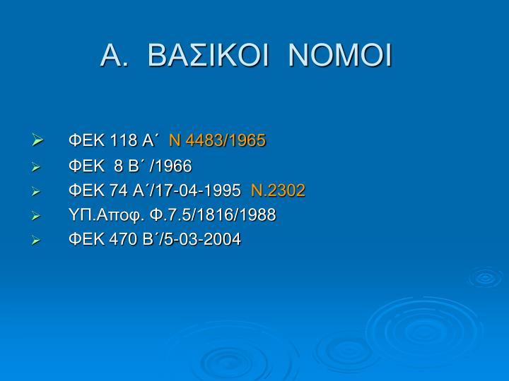 Α.  ΒΑΣΙΚΟΙ  ΝΟΜΟΙ