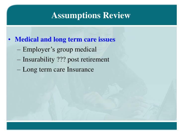 Assumptions Review