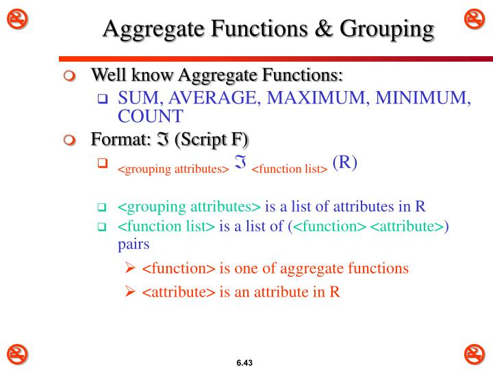 Aggregate Functions & Grouping