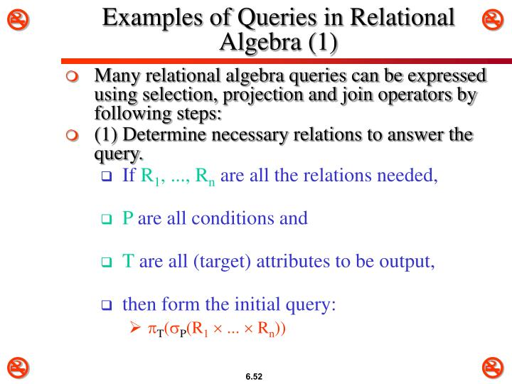 Examples of Queries in Relational Algebra (1)