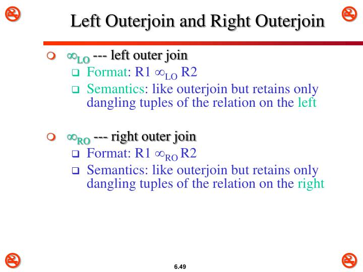Left Outerjoin and Right Outerjoin