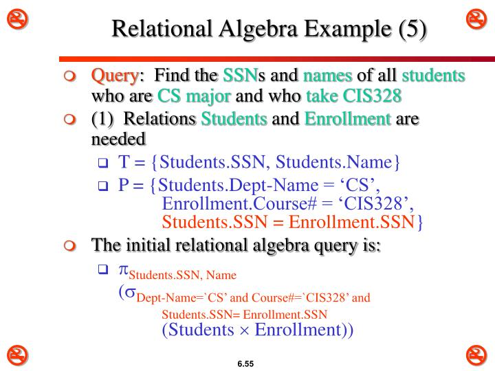 Relational Algebra Example (5)
