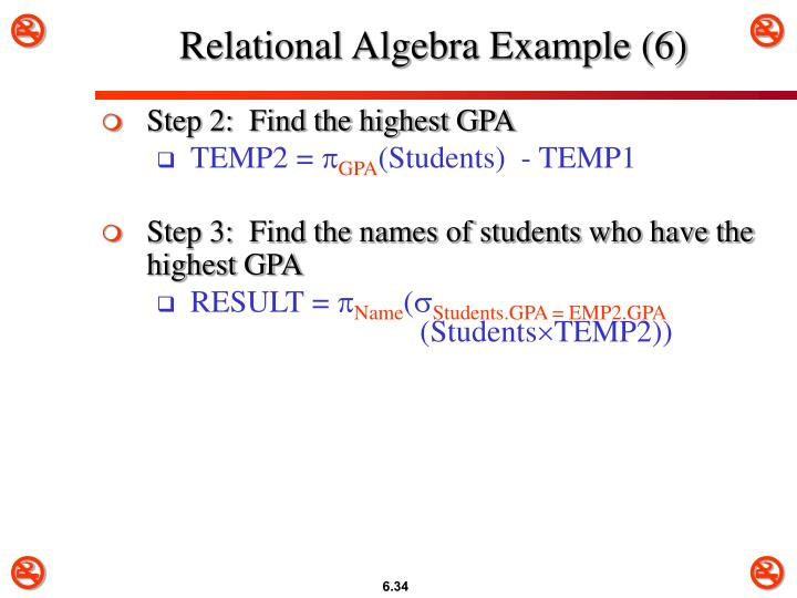 Relational Algebra Example (6)