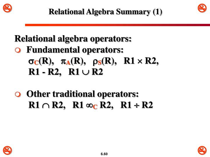 Relational Algebra Summary (1)