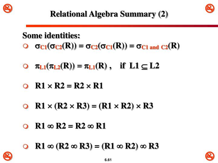 Relational Algebra Summary (2)