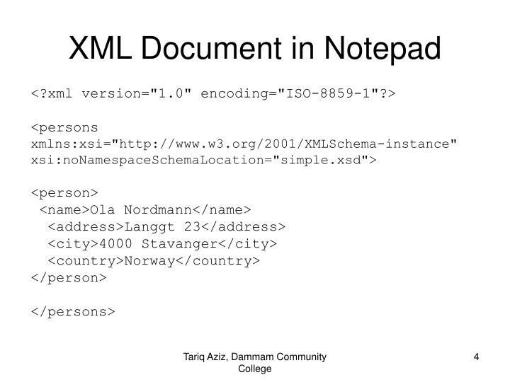 XML Document in Notepad