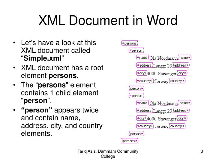 Xml document in word