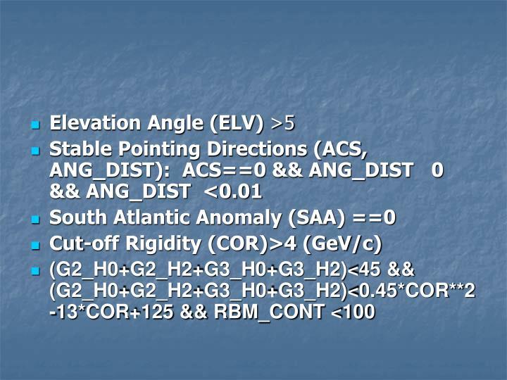 Elevation Angle (ELV)