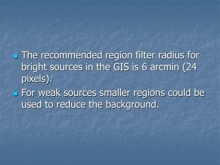 The recommended region filter radius for bright sources in the GIS is 6 arcmin (24 pixels).