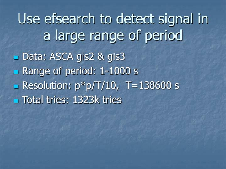 Use efsearch to detect signal in a large range of period