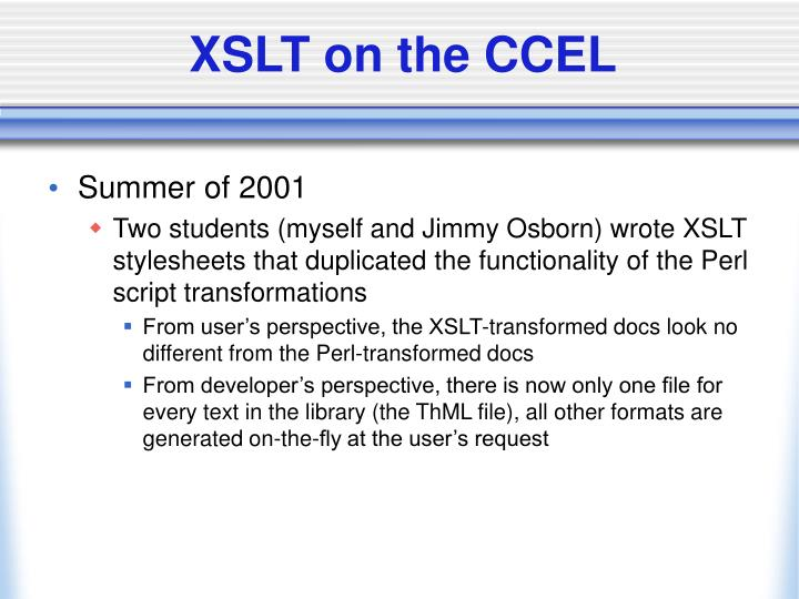XSLT on the CCEL