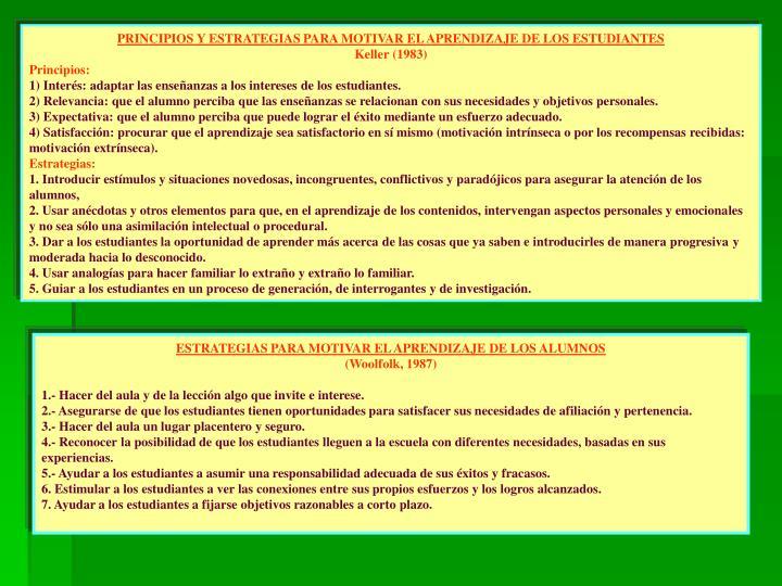 PRINCIPIOS Y ESTRATEGIAS PARA MOTIVAR EL APRENDIZAJE DE LOS ESTUDIANTES