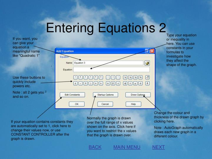 Entering Equations 2
