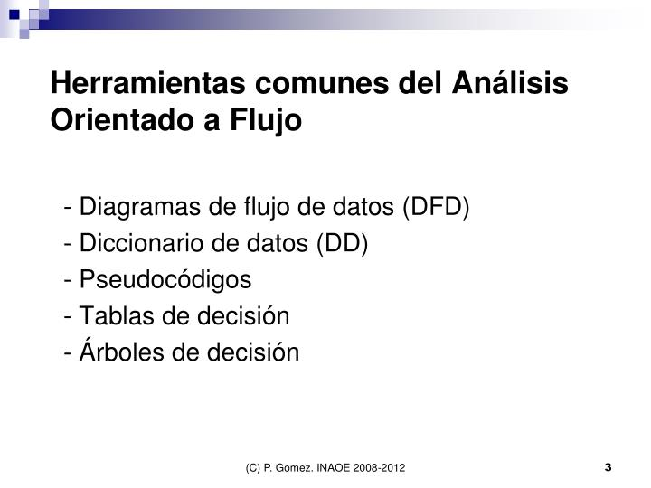 Herramientas comunes del Análisis Orientado a Flujo